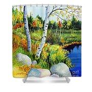 Lakeside Birches Shower Curtain