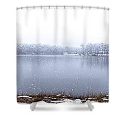 Lakeside In The Winter Snow Shower Curtain