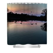 Lakeside Sunset Reflections Shower Curtain