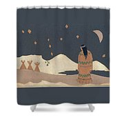 Lakota Woman With Winter Constellations Shower Curtain
