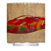 Lamborghini Gallardo 2013 Classic Sports Car Watercolor On Worn Distressed Canvas Shower Curtain