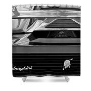 Lamborghini Rear View Emblem Shower Curtain by Jill Reger