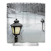 Lamppost In Snow Shower Curtain