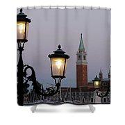 Lampposts Lit Up At Dusk With Building Shower Curtain