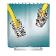 Lan Cable Close Up Shower Curtain by Shaun Wilkinson