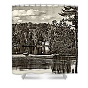 Land Of Lakes Sepia Shower Curtain