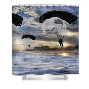 Landing At Sunset Shower Curtain