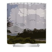 Landing Beyond The Trees Shower Curtain