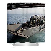 Landing Craft Utility Departs The Well Shower Curtain