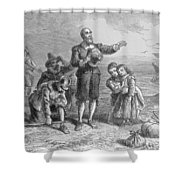Landing Of The Pilgrims, 1620, Engraved By A. Bollett, From Harpers Monthly, 1857 Engraving B&w Shower Curtain