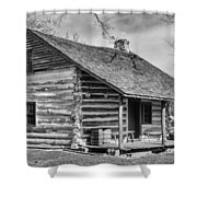 Landow Log Cabin Shower Curtain