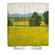 landscape art print oil painting for sale Fields Shower Curtain