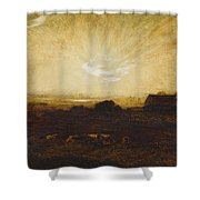 Landscape At Sunset Shower Curtain by Marie Auguste Emile Rene Menard