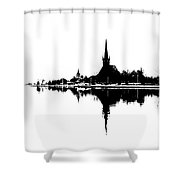 Landscape Black And White - Reflection Shower Curtain