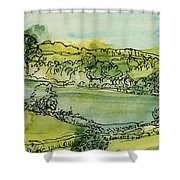 Landscape Pen & Ink With Wc On Paper Shower Curtain