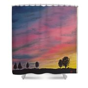Landscape Sunset In Memenbetsu Cho Japan Shower Curtain