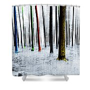 Landscape Winter Forest Pine Trees Shower Curtain