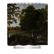 Landscape With A Courtly Procession Before Abtspoel Castle Shower Curtain by Esaias I van de Velde