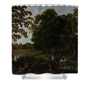 Landscape With A Courtly Procession Before Abtspoel Castle Shower Curtain by Esaias I van de Velde