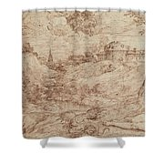 Landscape With A Dragon And A Nude Woman Sleeping Shower Curtain by Titian