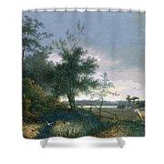 Landscape With A Fox Chasing Geese Shower Curtain