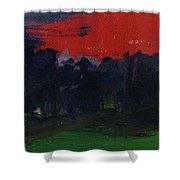 Landscape With A Red Sky Oil On Canvas Shower Curtain