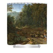 Landscape With A Shepherd And His Flock Shower Curtain