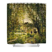 Landscape With A Sunlit Stream Shower Curtain
