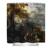 Landscape With Animals Shower Curtain