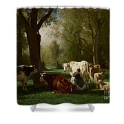 Landscape With Cattle And Sheep Shower Curtain