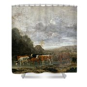 Landscape With Cattle Shower Curtain