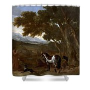 Landscape With Hermit Preaching To Animals Shower Curtain