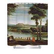 Landscape With St. John Baptising Shower Curtain