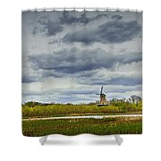 Landscape With The Dezwaan Dutch Windmill On Windmill Island In Holland Michigan Shower Curtain