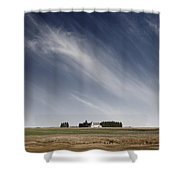 Landscape With White Country Church Shower Curtain