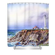 Lighthouse Point Arena California  Shower Curtain