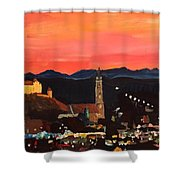 Landshut At Dawn With Alps Shower Curtain