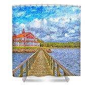 Landskrona Sea Shore Painting Shower Curtain