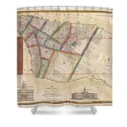 Langdon Pocket Map Of New York City Shower Curtain