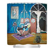 Languid Lady In A Chair Brooding Over Poetry Shower Curtain