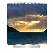 Lanikai Beach Sunrise Panorama 2 - Kailua Oahu Hawaii Shower Curtain