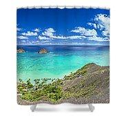 Lanikai Bellows And Waimanalo Beaches Panorama Shower Curtain