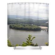 Lansing Bridge Panoramic Shower Curtain