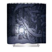 Lantern In Snow Shower Curtain by Joana Kruse