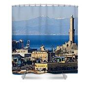 Lanterna - Lighthouse In Genova Shower Curtain