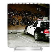 Lapd Cruiser And Police Bikes Shower Curtain by Nina Prommer