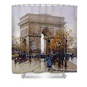 L'arc De Triomphe Paris Shower Curtain by Eugene Galien-Laloue
