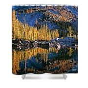 Larch Tree Reflection In Leprechaeun Lake  Shower Curtain