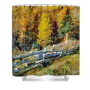 Larches In Autumn Shower Curtain