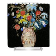 Large Bouquet On A Black Background Shower Curtain by Odilon Redon